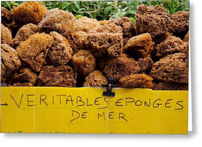 Script Greeting Cards - Natural Sponges For Sale In A Market Greeting Card by Panoramic Images