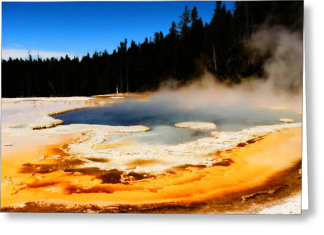 Super Volcano Greeting Cards - Natural Spring Greeting Card by Dan Sproul