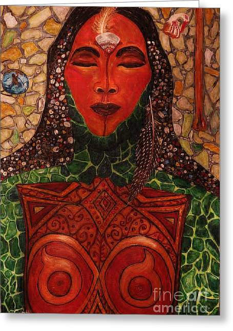Warrior Goddess Greeting Cards - Natural Warrior Goddess Greeting Card by Cynthia  Hagenhoff