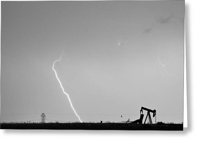 Storm Prints Photographs Greeting Cards - Nature - Power and Oil in Black and White Greeting Card by James BO  Insogna