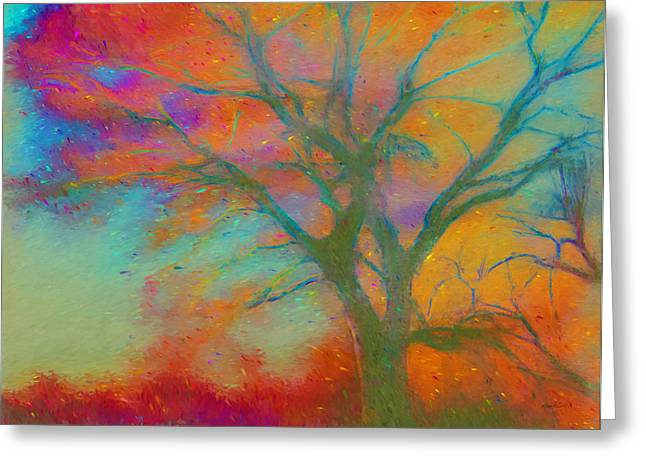 Colorful Trees Digital Greeting Cards - nature - art - Autumn Blaze Greeting Card by Ann Powell