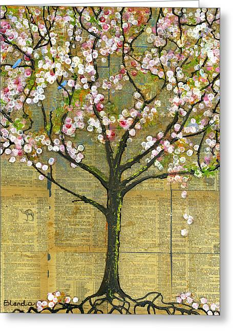 Artwork Mixed Media Greeting Cards - Nature Art Landscape - Lexicon Tree Greeting Card by Blenda Studio