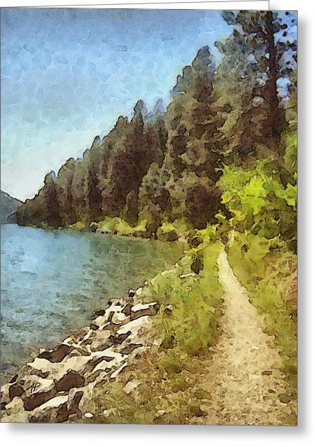 Exture Greeting Cards - nature - art- Mountain Lakeshore Summer  Greeting Card by Ann Powell
