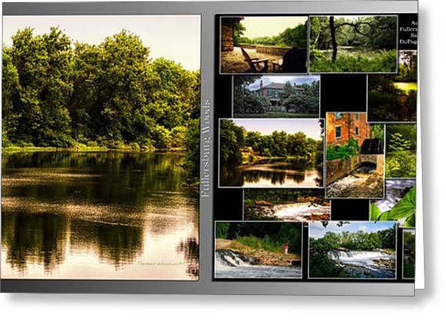 Nature Center Pond Greeting Cards - Nature Center 01 Collage Fullersburg Woods 2 Panel Greeting Card by Thomas Woolworth