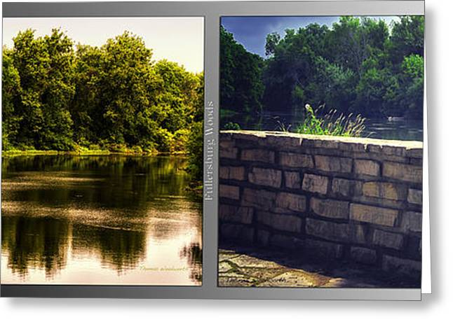 Nature Center Pond Greeting Cards - Nature Center 01 Flagstone Wall Fullersburg Woods 2 Panel Greeting Card by Thomas Woolworth