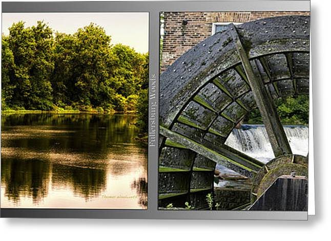 Nature Center Pond Greeting Cards - Nature Center 01 Grist Mill Wheel Fullersburg Woods 2 Panel Greeting Card by Thomas Woolworth