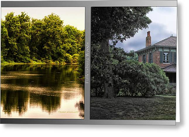 Nature Center Pond Greeting Cards - Nature Center 01 Italianate House Fullersburg Woods 2 Panel Greeting Card by Thomas Woolworth