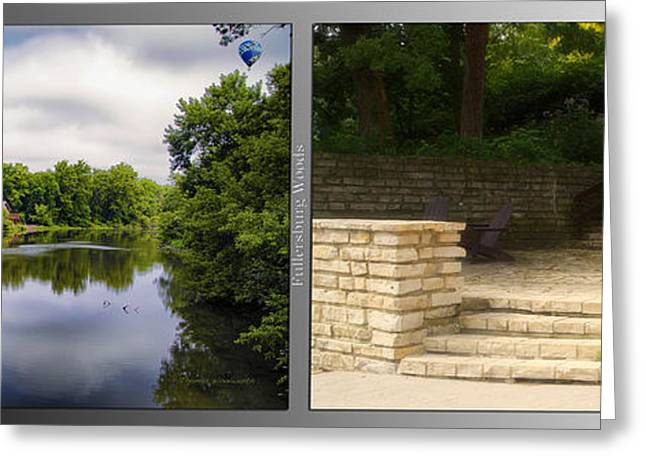 Nature Center Pond Greeting Cards - Nature Center 02 Flagstone Patio Fullersburg Woods 2 Panel Greeting Card by Thomas Woolworth