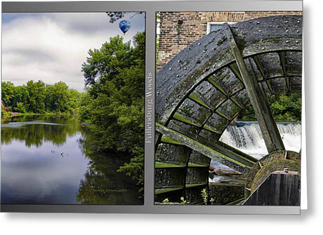 Nature Center Pond Greeting Cards - Nature Center 02 Grist Mill Wheel Fullersburg Woods 2 Panel Greeting Card by Thomas Woolworth