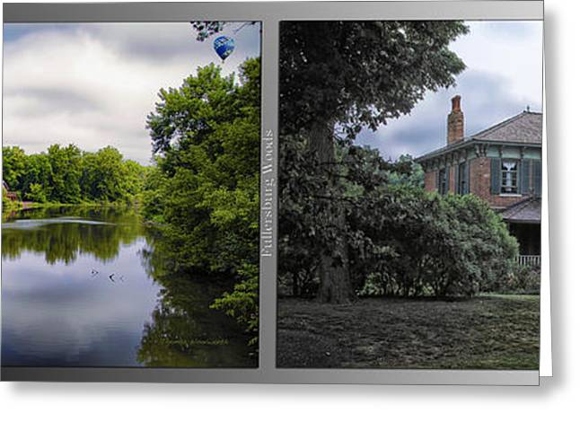 Nature Center Pond Greeting Cards - Nature Center 02 Italianate House Fullersburg Woods 2 Panel Greeting Card by Thomas Woolworth