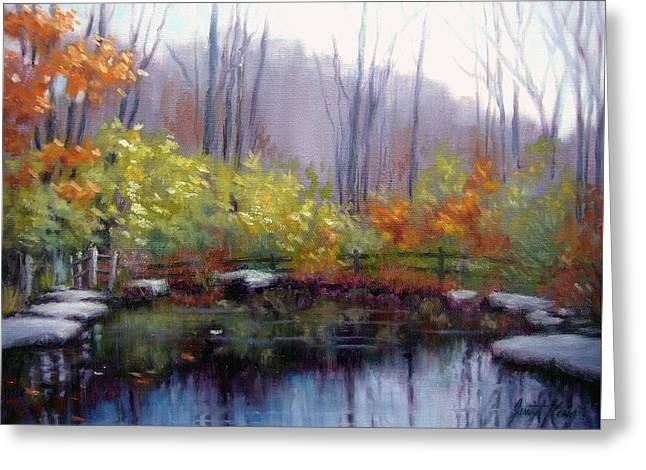 Nature Center Pond at Warner Park in Autumn Greeting Card by Janet King