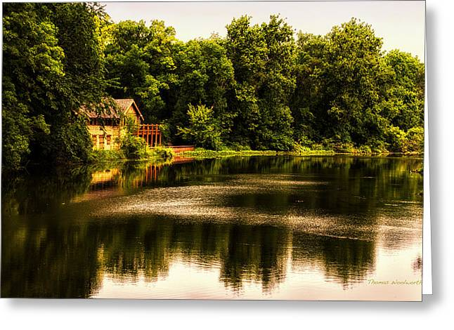 Nature Center Pond Greeting Cards - Nature Center Salt Creek In August Greeting Card by Thomas Woolworth