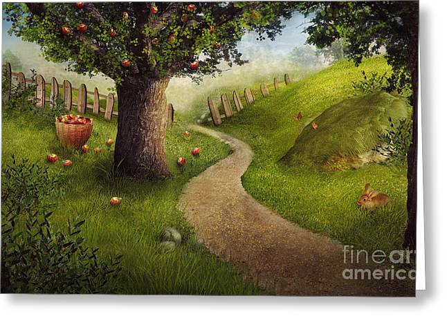 Fresh Food Greeting Cards - Nature design - apple orchard Greeting Card by Mythja  Photography