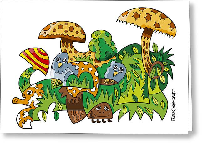 Doodle Greeting Cards - Nature Doodle Mushroom Grass Greeting Card by Frank Ramspott