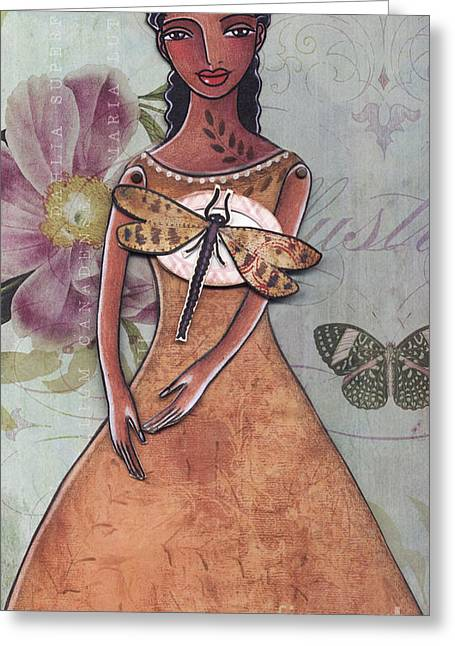 Dragonflies Mixed Media Greeting Cards - Nature Greeting Card by Elaine Jackson