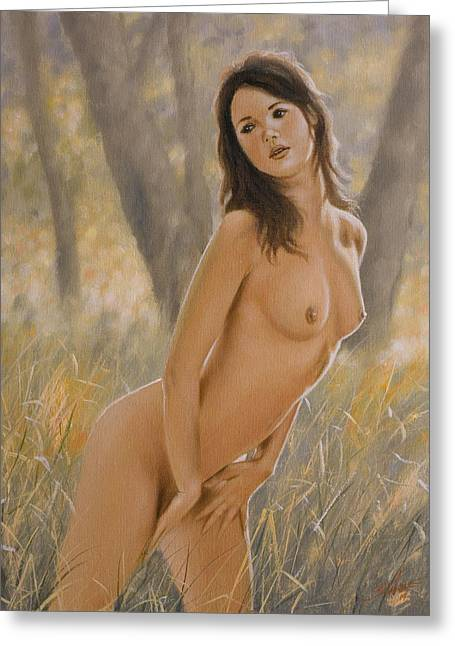 Pussy Greeting Cards - Nature Girl II Greeting Card by John Silver