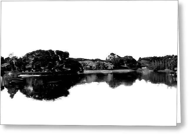 Reflection In Water Greeting Cards - Nature in Black and White Greeting Card by Usha Shantharam