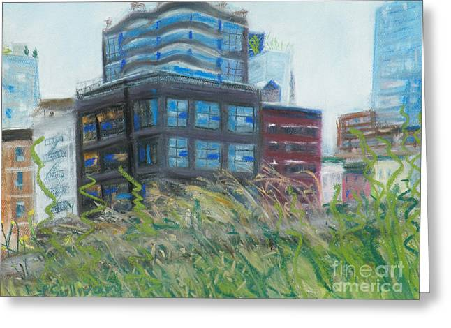 Red Buildings Pastels Greeting Cards - Nature Meets Architecture Greeting Card by Laura Sullivan