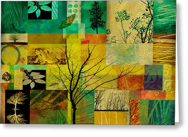 Green And Yellow Abstract Greeting Cards - Nature Patchwork Greeting Card by Ann Powell