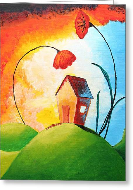 Red Buildings Drawings Greeting Cards - Nature spills colour on my house Greeting Card by Nirdesha Munasinghe