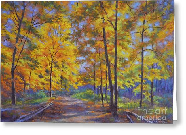 Yellow Leaves Pastels Greeting Cards - Nature Trail Turn of Autumn Greeting Card by Fiona Craig