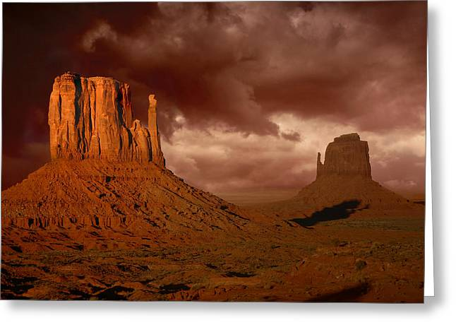 Cliffs Pyrography Greeting Cards - Natures Fury in Monument Valley Arizona Greeting Card by Katrina Brown