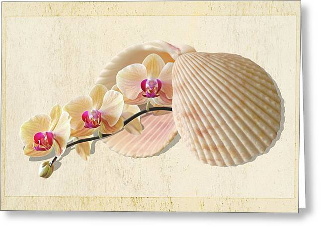Golden Pink Orchid Greeting Cards - Natures Golden Gems Greeting Card by Gill Billington