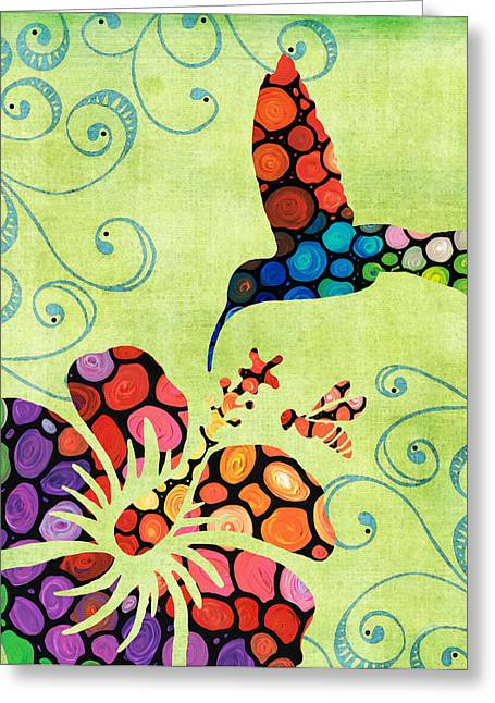 Pollen Greeting Cards - Natures Harmony 2 - Hummingbird Art By Sharon Cummings Greeting Card by Sharon Cummings