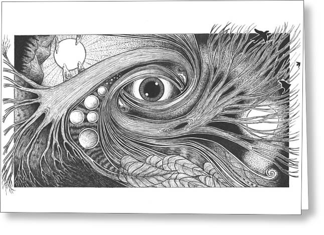 Light And Dark Drawings Greeting Cards - Natures Intelligence Greeting Card by Michael Paul Gavazzi