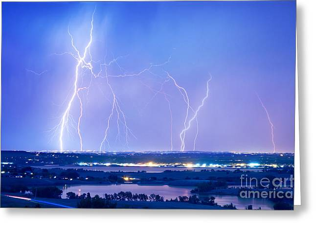 Lightning Gifts Photographs Greeting Cards - Natures Light Show Over The Boulder Reservoir  Greeting Card by James BO  Insogna
