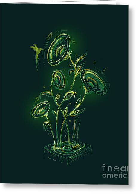 Vinyl Greeting Cards - Natures music box Greeting Card by Budi Kwan