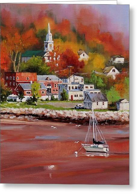 New England Village Paintings Greeting Cards - Natures Palette Greeting Card by Laura Lee Zanghetti