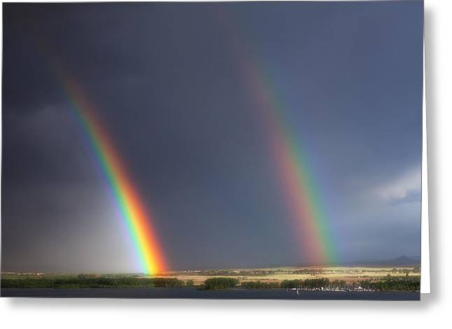 Double Rainbow Greeting Cards - Natures Twin Towers Greeting Card by Darren  White