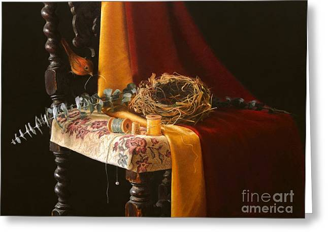 Photo-realism Pastels Greeting Cards - Natures Weaver Greeting Card by Barbara Groff