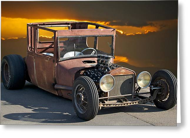Naugh T Rat Rod Greeting Card by Dave Koontz