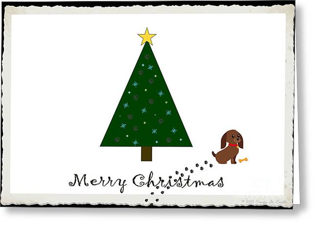 Susan M. Smith Greeting Cards - Naught Dog Merry Christmas Greeting Card by Susan Smith