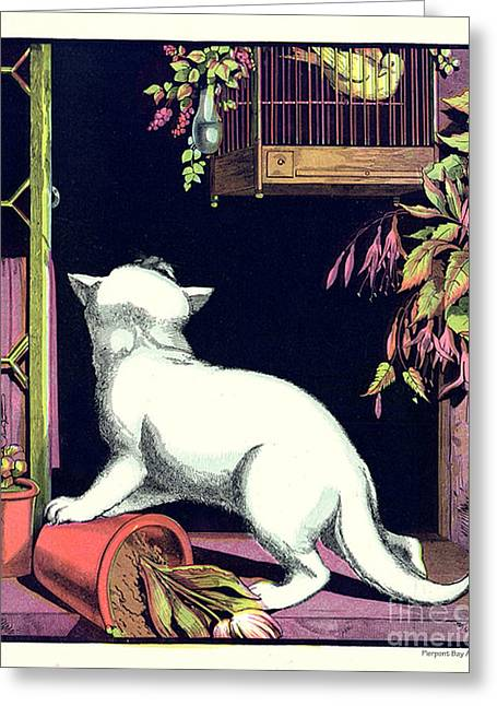Naughty Cat Eyes A Yellow Bird In Cage Greeting Card by Pierpont Bay Archives