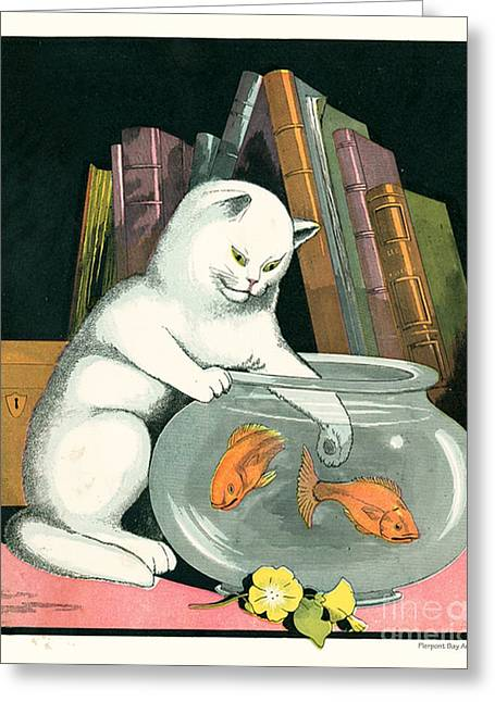 Bobcats Greeting Cards - Naughty Cat Fishes for Goldfish in Fish Bowl Greeting Card by Pierpont Bay Archives