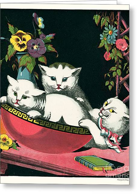 Naughty Cats Play In Antique Pink Bowl With Book And Sweet Williams Flowers Greeting Card by Pierpont Bay Archives