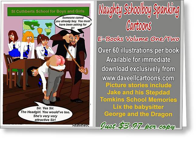Spanking Greeting Cards - Naughty Schoolboy Spanking Cartoons and Stories Greeting Card by Dave Ell