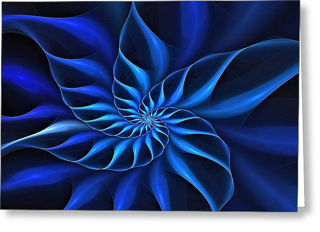 Flowers On Line Greeting Cards - Naultilus fractalus Blues Greeting Card by Doug Morgan