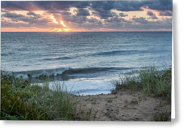 Late-summer Greeting Cards - Nauset Light Beach Sunrise Square Greeting Card by Bill  Wakeley