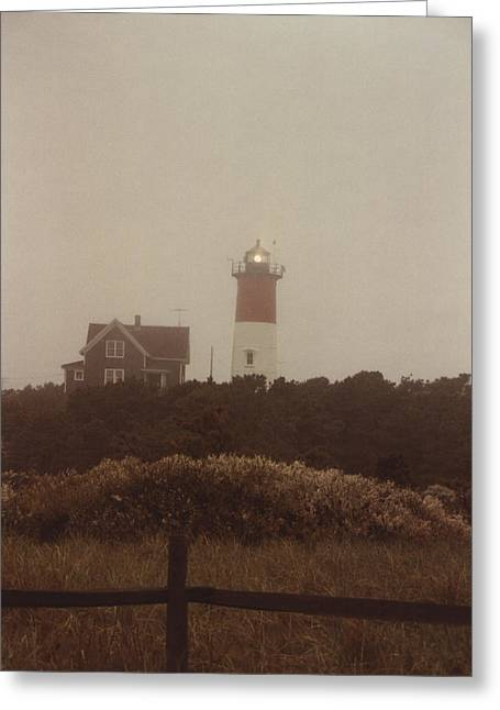 Cape Cod Mass Greeting Cards - Nauset Light in light fog Greeting Card by Robert Estes