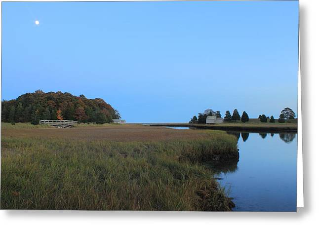 Cape Cod National Seashore Greeting Cards - Nauset Marsh Autumn Moon Greeting Card by John Burk