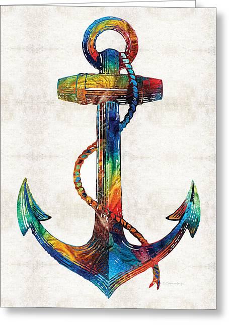 Sailboat Paintings Greeting Cards - Nautical Anchor Art - Anchors Aweigh - By Sharon Cummings Greeting Card by Sharon Cummings