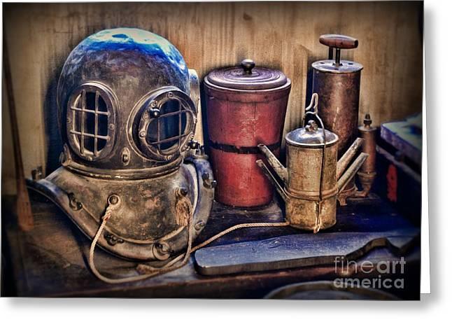 Diving Helmet Greeting Cards - Nautical - Antique Dive Helmet Greeting Card by Paul Ward