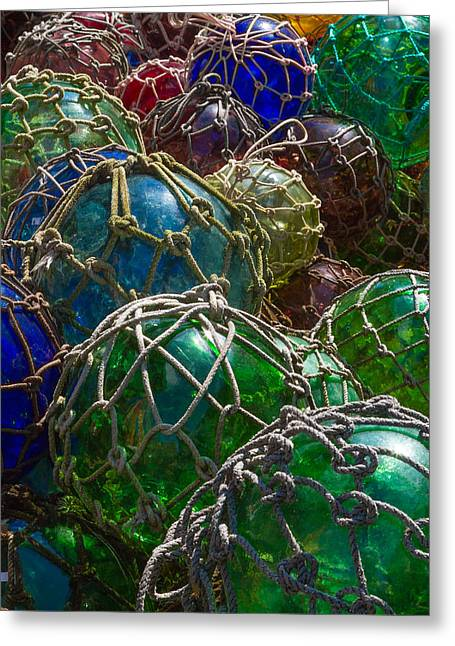 Glass Buoys Greeting Cards - Nautical Art - Glass Fishing Net Floats Greeting Card by Bill Swindaman