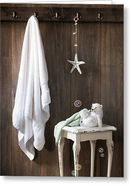 Laundering Greeting Cards - Nautical Bathroom Greeting Card by Amanda And Christopher Elwell