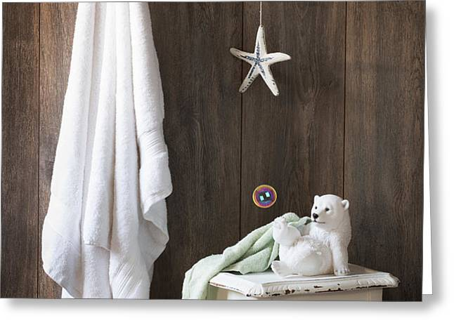 Nautical Bathroom Greeting Card by Amanda And Christopher Elwell
