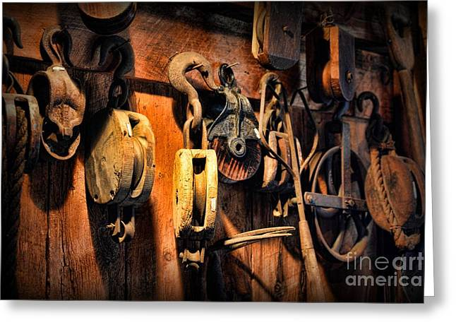 Wood Grain Greeting Cards - Nautical - Boat - Block and Tackle  Greeting Card by Paul Ward
